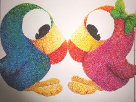 Pointillism- Birds' love by Still-D0ll