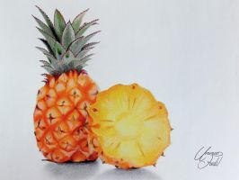 Drawing Fruits 4 - Pineapple - Colored pencils by f-a-d-i-l