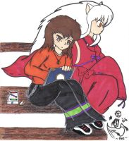 Inuyasha and meh by dyingbreed666