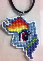 Rainbow Dash cross stitched necklace by starrley