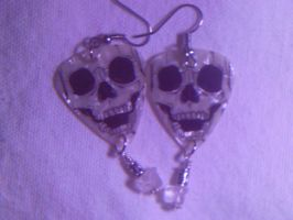 Quarts and Skull Pick Earrings by stardove3