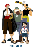 Luffy and Shanks Pirates by Narusailor