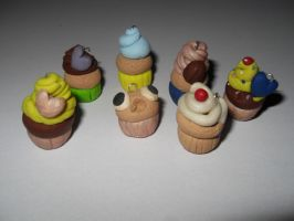 kawaii clay cupcake charms by Overlyretardedkawaii
