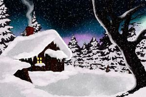 Winter cabin by Dianabolique