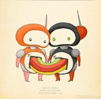Sushibot Love by pezbananadesign
