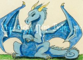 Sleeping  Blue Dragon ACEO by The-GoblinQueen