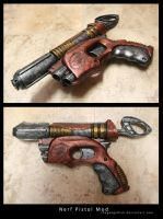 Steampunk Nerf Pistol by thegadgetfish