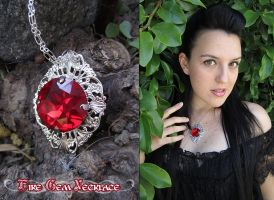Fire Gem Necklace by Lillyxandra