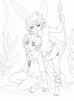 Tatl and Tael lineart by Reenigrl