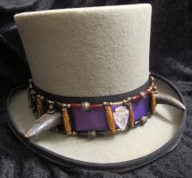 Buffalo-Horned Crystal Arrowhead Hatband 1a by Windthin