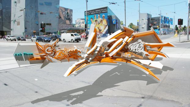3d graffiti real life by anhpham88