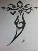 Tribal Tattoo Cross by thisiscray