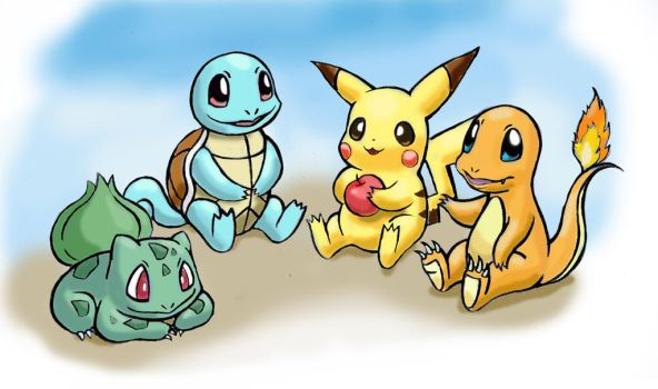 Pikachu, Squirtle, Charmander, Bulbasaur by zdrer456
