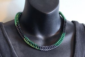 Green and Black Half Persian 4-1 Necklace by SerenFey