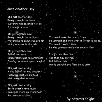 Just another day (poem) by Artemis-Knightmoon