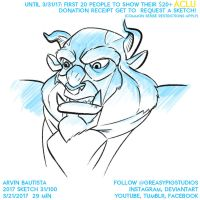 Arvin Bautista Sketches 2017 31/100: Disney Beast by greasypigstudios