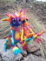 Rainbow Tie-Dye goblins- by Tanglewood-Thicket