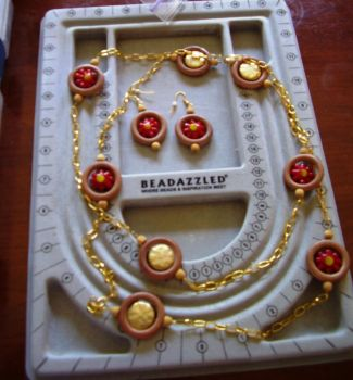 Red and Gold Necklace by PearlLotus