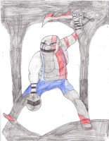 What if: Mario as Kratos GoW3 by LordExDeath