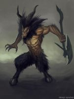Reproduction of Diablo 3 concept art - Minotaur by DesignSpartan