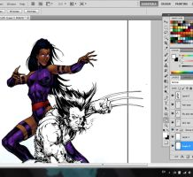 Wolverine and Psylocke WIP colors by LTartist