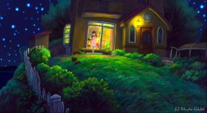 Midnight House - Ponyo Wallpaper by sirdaftodill