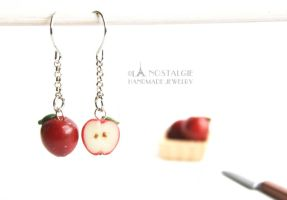 Adorable Dark Red Sliced Apple handmade jewelry by LaNostalgie05