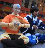 Aang and Korra: Meditation by kelala000