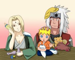 Jiraiya Tsunade The baby Sitter by FrenzyVammi