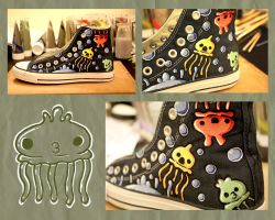 Custom Undersea Converse Shoe WIP by countmoopula