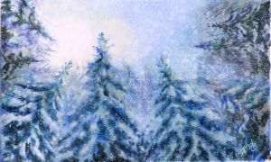 Winter landscape 12. Watercolour. by alartstudio