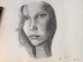Pencil sketch of female from photo ref by Z0la25