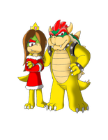 Commission: Bowser and Jasmine by marioking89