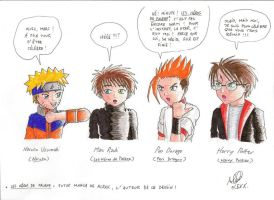Naruto, Marc, Pen and Harry by kendrawer