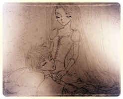Jack Frost and Rapunzel Sleeping by civil-twilight