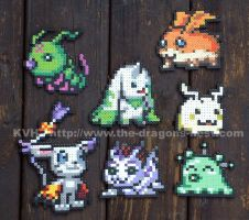 Bead Sprite Digimon Characters by pinkdramon