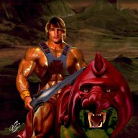 He-Man and Battlecat by planetbryan