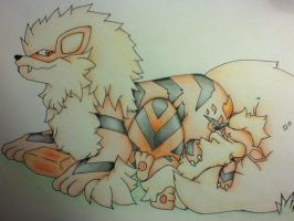 Arcanine and Growlithe by Adolessence