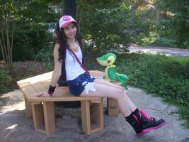 Trainer White and Snivy by Lokibelle
