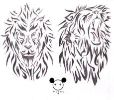Tribal lion 1 and 2 by PandaG