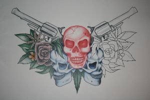 Skull And Guns Design by itchysack