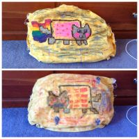 Nyan Cat and Tac Nayn pillow by bieber90pink