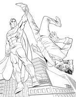 Superman and Joker BnW by MikeDimayuga