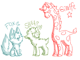 fox sheep and giraffe by sherbi