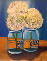 Hydrangeas in a Ball Canning Jar by SolitaryGrayWolf