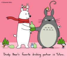 Drunky Bear and Totoro by sebreg