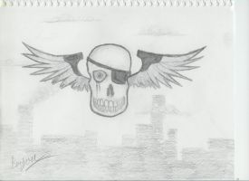 Winged Skull by Master-Bryon