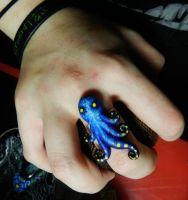 Blue Octopus Ring by PoisonJARCreations