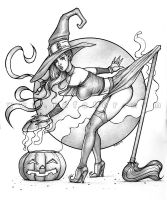 Halloween witch pinup - Pencil by rafater