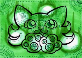ACEO:Green Wizard Cat by lutamesta